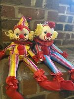 Dolmax Clown Vintage Lot Of 2 Twins Long Musical Circus Creepy Antique Wind Up