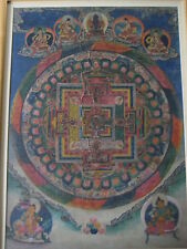 Antique Large Tibetan Buddhist hand Painting on Fabric Thangka Tangka, Mandala