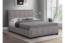 Superbe et stylé Tissu Gris Cadre de lit avec amorti Tête de lit 1.2m M cadre