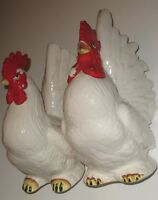 "Vintage ROOSTER & HEN FIGURINE WHITE & RED SIZE ROOSTER 9""t & HEN 7.75""t"