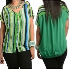 V Neck Cap Sleeve Striped Tops & Shirts for Women