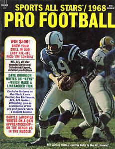 1968 Sports All Stars Pro Football magazine Johnny Unitas, Baltimore Colts VG