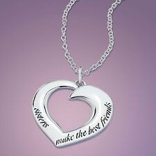Sisters Necklace Sister Make the Best Friends Engrave Stamp STERLING SILVER .925