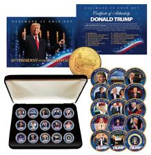 DONALD TRUMP 15-Coin Golden Washington DC Quarter Coin Set w/BOX & CERTIFICATE