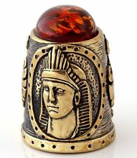 Egyptian Sphinx & Winged Lion Brass Thimble Cognac Baltic Amber Russian Souvenir