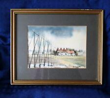 Vintage Framed Watercolour Painting Coast / Marshland - Signed J Maundrell 1984