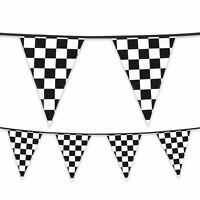6m Plastic Black White Racing Car Bunting Banner Grand Prix F1 Party Decoration