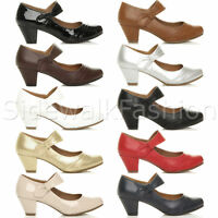 Womens ladies low mid heel comfort mary jane strap hook & loop court shoes size