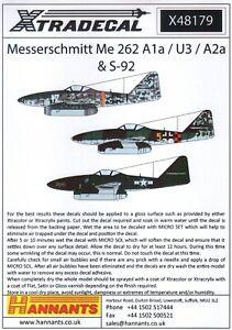 X48179 NEW Xtradecal 1:48 Messerschmitt Me-262A1a / U3 / A2A & S-92 'Schwalbe'