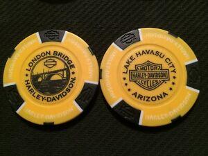 "Harley Poker Chip Golf Ball Marker (Yellow/Black) ""London Bridge"" Lake Havasu AZ"
