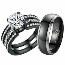 Ring Matching Wedding Band Set Gift His Hers Titanium Stainless Steel Engagement