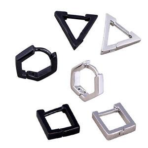 1pair Triangle Square Rhombus Stainless Steel Men Women eardrop Dangler Earrings