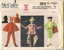 McCalls Sewing Pattern 7912, Clown Bullfighter Devil Costumes, Size 6 - 8 Uncut