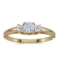14k Yellow Gold Round Aquamarine And Diamond Ring