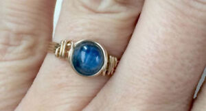 10k solid gold blue kyanite ring, yellow gold,wire wrapped ring unique ring