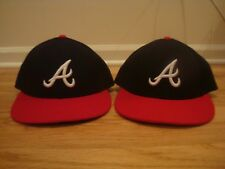 VTG Lot of 2 Atlanta Braves New Era hat cap 7 1/8 On Field Low Crown Profile