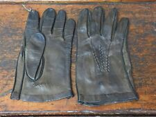 Vintage Chocolate Brown Leather Hand Stitched Gloves - Men's/Women's? Size 8