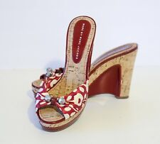 Marc by Marc Jacobs Red/White Floral Fabric Leather Cork Slide Sandals 38, 8M
