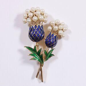 Vintage Signed Crown Trifari Thistle Flower Blue Enamel Faux Pearl Brooch Pin