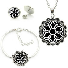 Celtic Trinity Knot Black and White  Bracelet,Necklace and Earrings Set