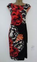 DEBENHAMS BLACK RED FLORAL STRETCH SHIFT DRESS SIZE 18 TIE SIDE ORANGE CREAM