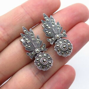 Antique Art Deco 925 Sterling Silver Marcasite Floral Handcrafted Collar Clips