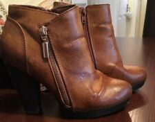 "LADIES ANKLE BOOTS SIZE 3 EU 36 1/2"" PLATFORM HEELS 4"" ZIP UP FAUX LEATHER BROWN"