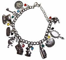 Alice in Wonderland Silvertone Metal Charm Bracelet