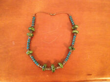 Vintage Likely Asian Chinese or Nepalese Blue & Green Ceramic Bead Necklace