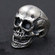 Huge Heavy Solid 925 Sterling Thai Silver Ring Mens Biker Skull Size 9 10 11