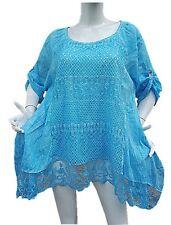 Femme Haut Top Tunique Longue 44 46 48 50 Grande Taille Femme Vêtement Dentelle