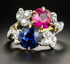 Blue Sapphire Colorful Bridal Ring Victorian 0.80ct Rose Cut Diamond Ruby