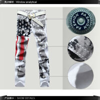 Men's American Flag Jeans Slim Fit Long Pants Trousers Jeans Independence Day