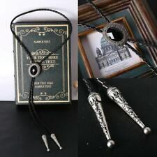 Handmade Black Onyx Bolo Tie Leather Cord Metal Western, Cowboy, Goth 94cm