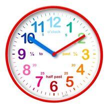 Acctim Wickford Kids Children Time Teaching Wall Clock - 20cm - Red