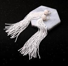 Boucles d'Oreilles Doré Tassel Pompon Mini Perle Blanc Ethnique Super Long XX24