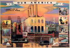 Original Vintage Poster Our America Oil Production 1943 Coca-Cola School Chart