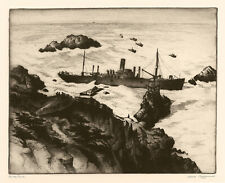 GENE KLOSS, 'ON THE ROCKS', signed etching, 1946.