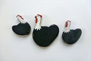 Trio of Hen Fridge Magnets, chicken magnets, birthday gift