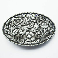 Western Cowgirl Flower Pattern Metal Belt Buckle