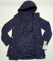 Giacca Women's Hooded Full Zip Button Coat Jacket Medium Midnight Blue