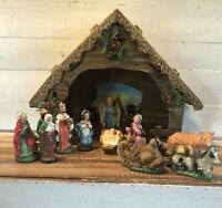 Vintage Midcentury 12 Pieces Nativity Figures & Creche Christmas Jesus Wisemen