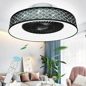 """22"""" Modern Ceiling Fan Dimmable Led Light Remote Control Flush Mount Lamp,Timing"""