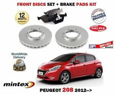 FOR PEUGEOT 208 1.0 1.2 1.4 1.6 HDi 2012-> FRONT BRAKE DISCS SET + DISC PADS KIT