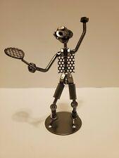 Nuts & Bolts Tennis Player Scrap Metal Welded Figurine Sculpture - Artwork