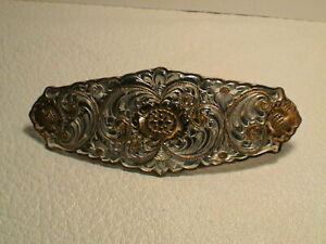 WOMENS WESTERN SCROLLED FLORAL DESIGN SILVER PLATE COLORED METAL BELT BUCKLE