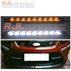 Pair of 9 Encased LED Car DRL Daytime Running Lights White Ford Focus St Grille