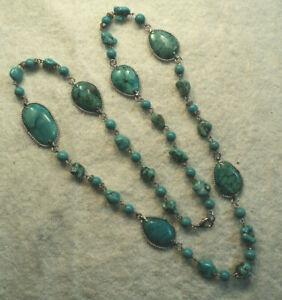 "Vtg NOS STAUER BLUE Arrow Turquois Chunk Nugget & Cabochon Necklace w Box 34"" L"