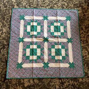 "Handmade Patchwork Quilt Purple Green Polkadots 38 x 38"" Baby Crib Lap Blanket"