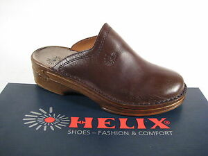 Helix Clogs Mules Slippers Braun Leather Footbed Leather New